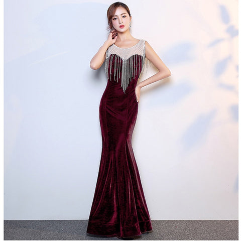 Red Velvet Diamond Tassels Sleeveless Women Sexy Bodycon Dress.