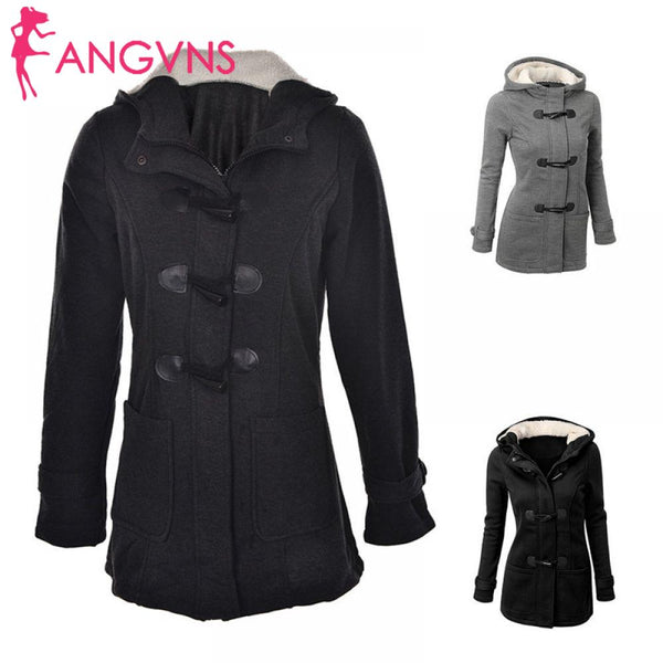 Zipper Autumn Coat Long Trench Jacket Outwear Button Hooded