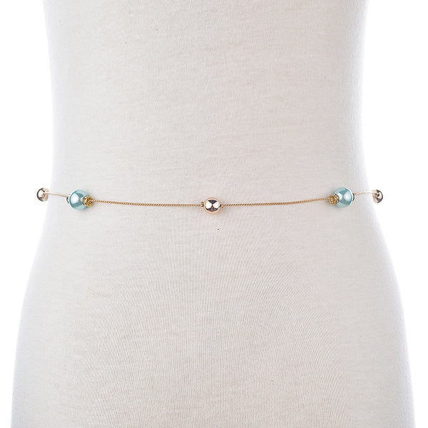 Pearl Chain Belts For Women Gold Plated Designer Belt Metal Belly Waist Belt.