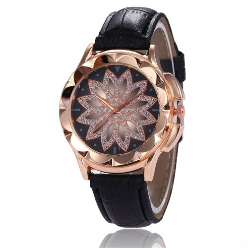 Rhinestone Watches Ladies Leather Band Big Dial Bracelet Wristwatch Crystal.