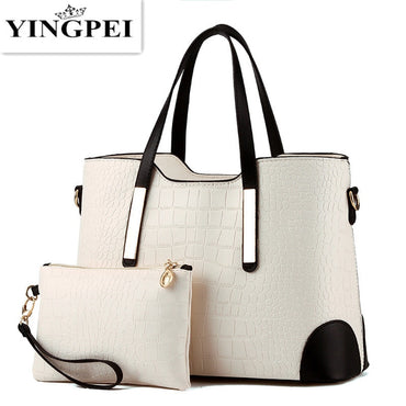 YINGPEI Women Bag Vintage Messenger Bags Shoulder Handbag Women Top-Handle Crocodile Pattern Composite Bag Purse Wallet Leather