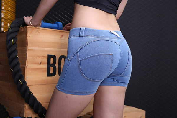 Denim Bodycon Peach Push Up Hip Skinny Jeans Sexy Lady Short Trousers