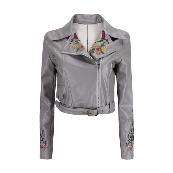 Faux Leather Jackets Lady Fashion Embroidery Motorcycle Coat Biker Gray Pink Black Zipper Outwear with belt.