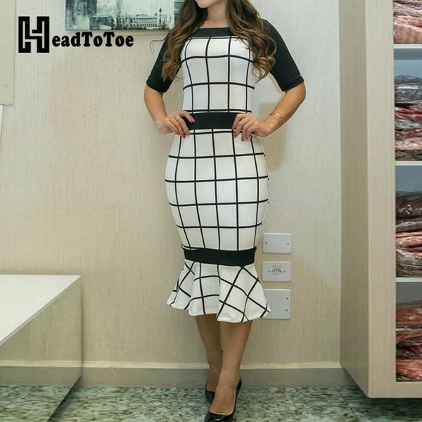 Contrast Color Grid Print Pep Hem Bodycon Dress Women Elegant Half Sleeve Midi Dress Workwear Female Summer Dress Vestidos