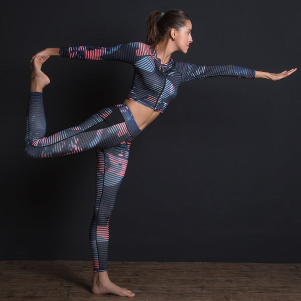 New Sport Suit Print Fitness Suit Leggings Breathable Yoga Set 2 Piece Zipper Sportswear T-shirt Sport Pants Tracksuit For Women