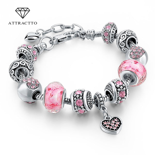 ATTRACTTO Gift!!! 2019 Fashion Jewelry Pink Crystal Charm Women Bracelets Silver Chain Bracelets Bangles Femme Pulsera Sbr160073