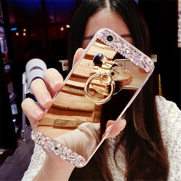 Luxury Crystal Rhinestone Bling Diamond Glitter Mirror Case For Samsung S7 S8 S9 Plus S10 NOET 8 9 Case Cute Ring Stand Cover