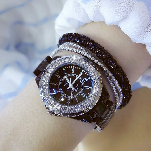 Luxury Ceramic Fashion Quartz Women Wrist Watch Diamond White.