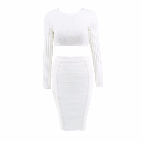 Long Sleeve Sexy Two Piece Set Clubwear Knee Length Women Evening Party Bodycon Dresses