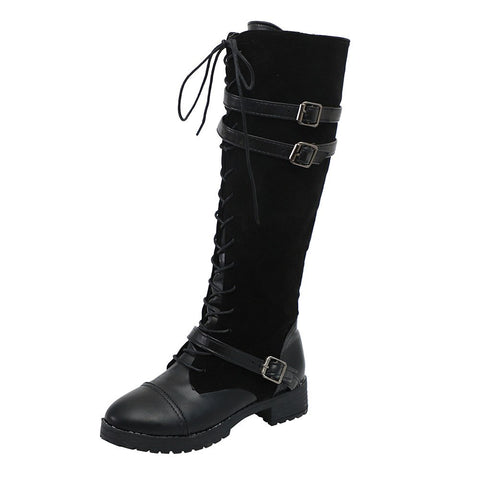 Knee-High Boots Ladies Sexy Shoes Flock Roman Riding Knee High Cowboy Boots Long Boots