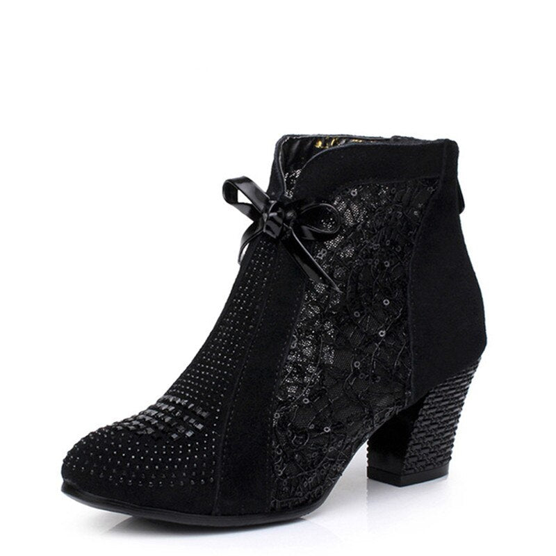 Mid Heel Leather Lace Floral Bowknot Pearl Rivets Ankle Boots.