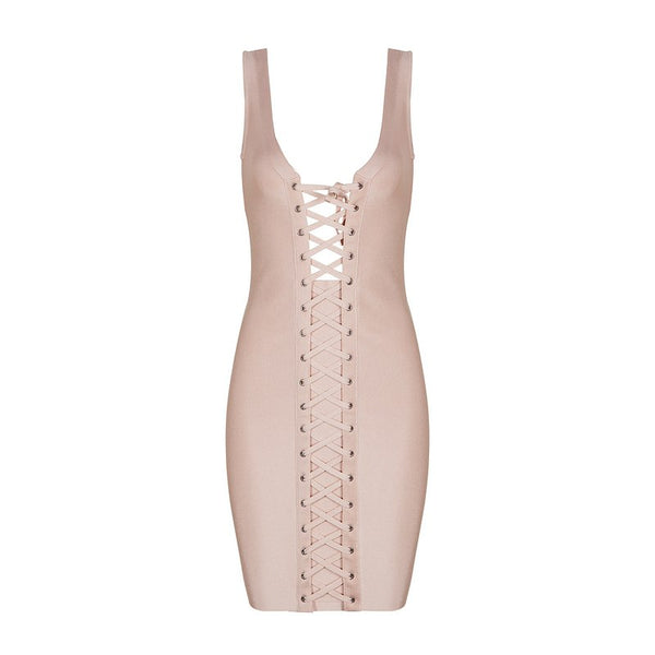 Sexy Lace Up Sleeveless Bodycon Club Party Dresses New Fashion