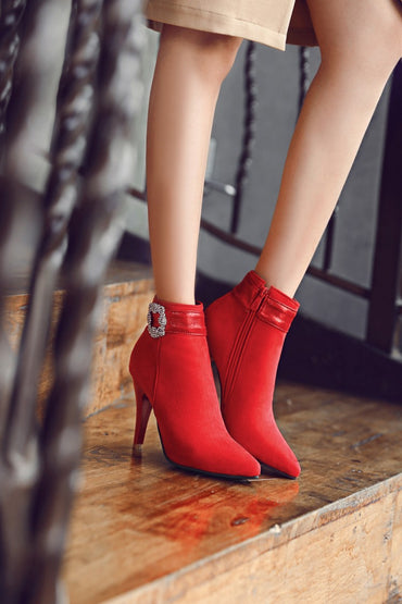 2017 Botas Mujer Winter Boots New Poninted Toe Buckle Boots For Women Sexy Ankle Heels Fashion Winter Shoes Casual Zip Snow  A26