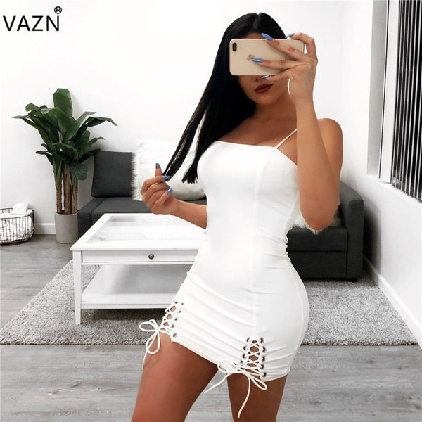 Hot Sexy Fashion Famous Brand Women Solid Strapless Sleeveless Dress Ladies Bodycon High Street Mini Dress