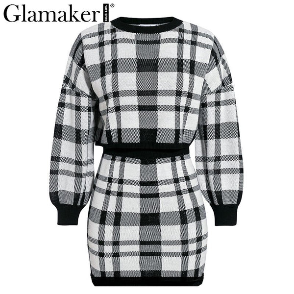Knitted plaid two piece elegant mini short dress with long sleeve bodycon.