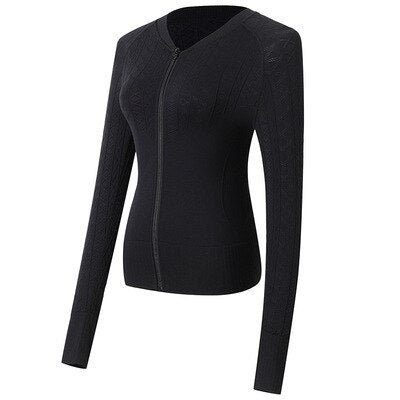 Long Sleeve Yoga Tops Women Fitness Clothes Zipper Running Jacket.