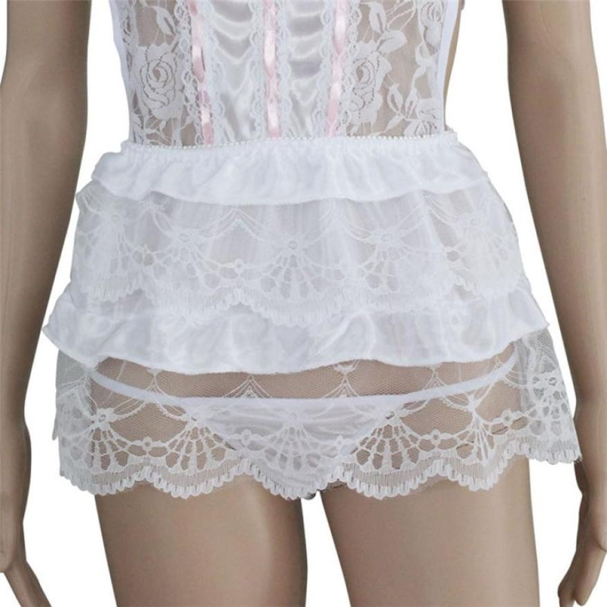 278082f75 Translucent Underwear Hot Lace Sexy Passion Lingerie Backless Halter  Babydoll G-string Dress