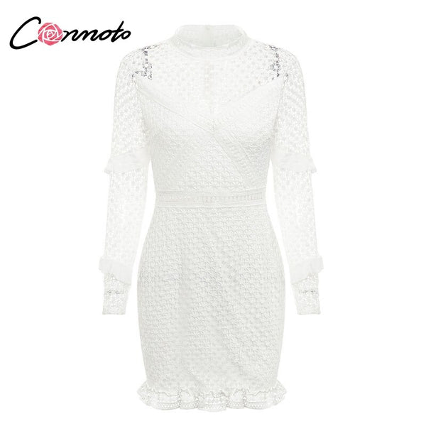 Double Layer Long Sleeves White Lace Dress Casual Sexy Embroidery.