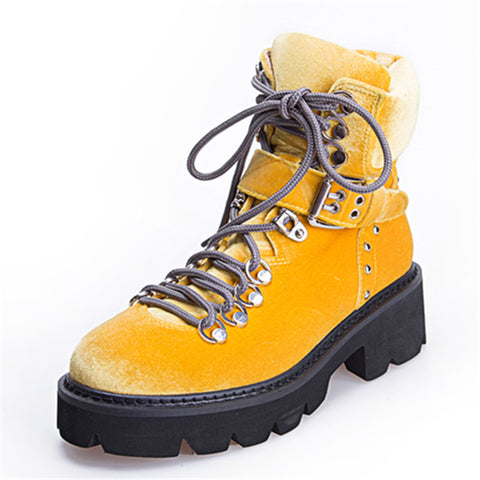 boots for women velvet shoes warm lace up buckled boots