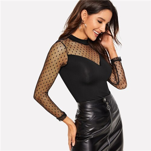 Black Dot Mesh Sweetheart Keyhole Back Fitted Tee Slim Fit Casual Long Sleeve top.