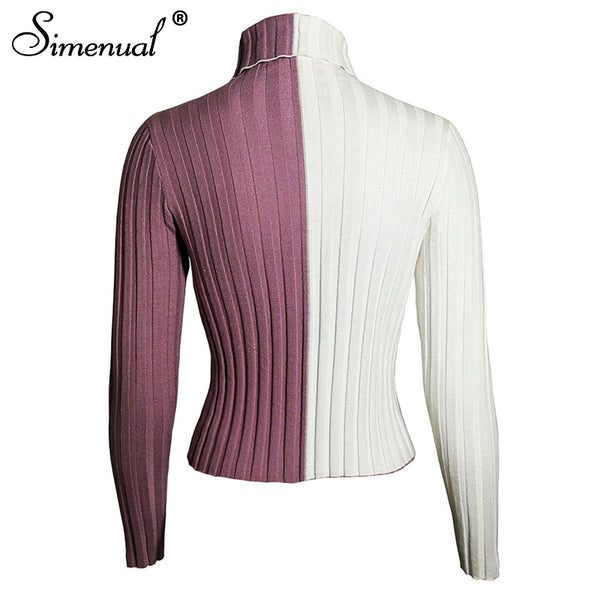 Simenual Patchwork women's turtleneck sweaters and pullovers autumn knitting clothes skinny sexy cropped lady's sweater hot sale