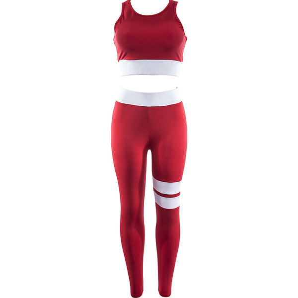 Yoga Set Patchwork Running Fitness Jogging T-shirt Leggings Sports Suit Gym Sportswear Workout Clothes S-L