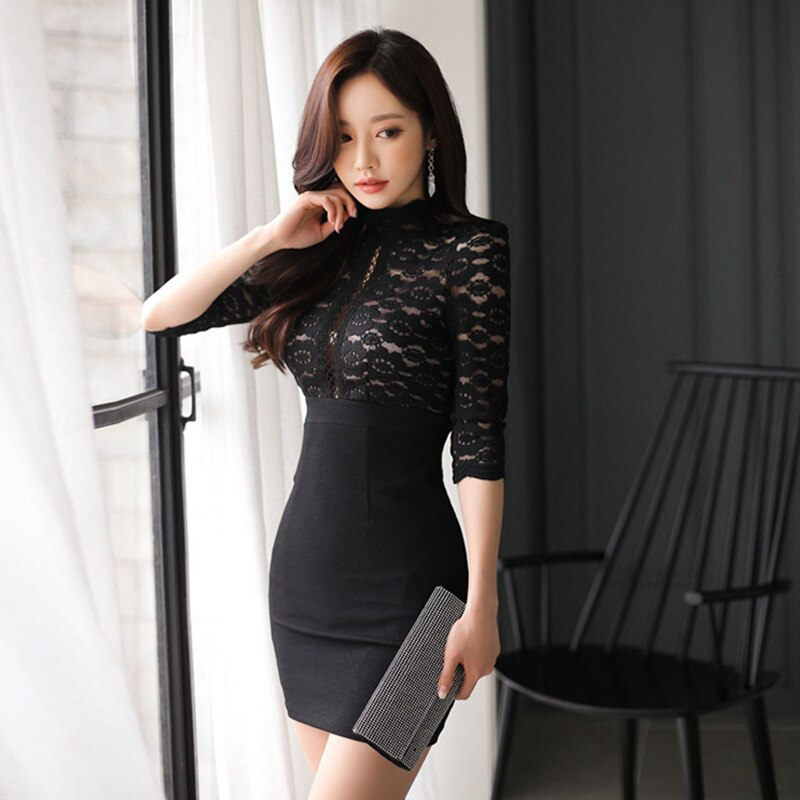 Dress Black Patchwork Lace Sundress 3/4 Sleeve Sexy Party Dress.