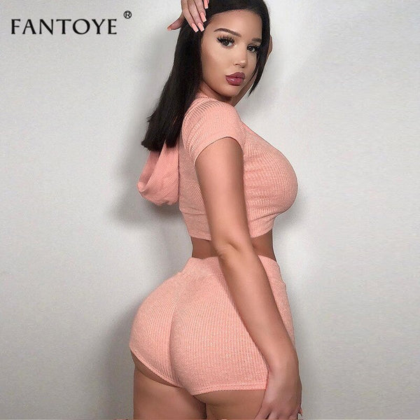 Fantoye Summer Sexy 2 Two Piece Set Women Playsuits Ribbed Hooded Collar Tops And Pants Bodycon Jumpsuit Ladies Casual Overalls