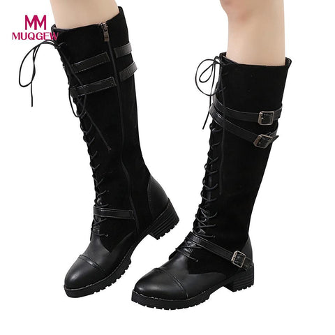 2018 Autumn New Shoes Women Knee-High Boots Ladies Sexy Shoes Flock Roman Riding Knee High Cowboy Boots Martinas Long Boots