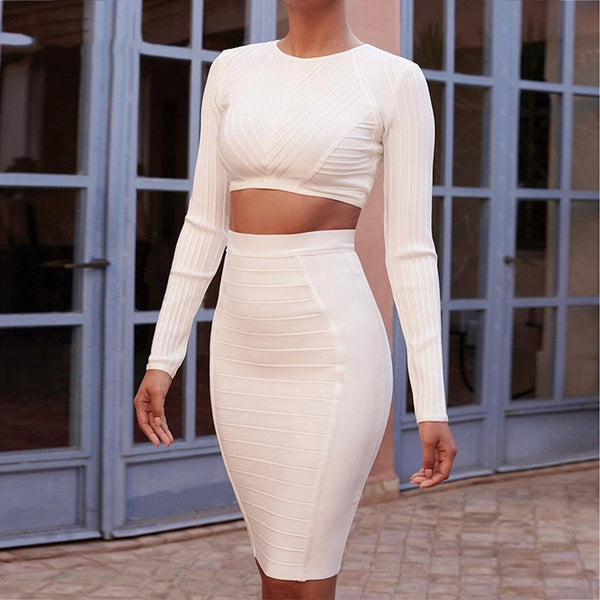 Seamyla 2018 New Fashion Bandage Dress Long Sleeve Sexy Two Piece Set Clubwear Knee Length Women Evening Party Bodycon Dresses