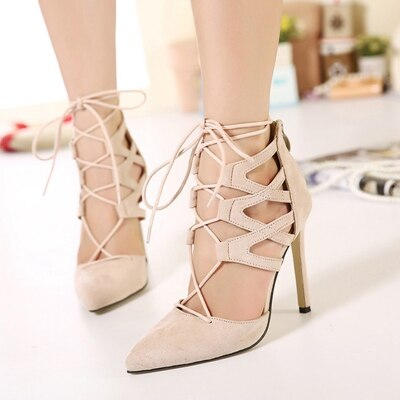 Leather High Heel Shoes Lady  Classic Heeled Sandals.