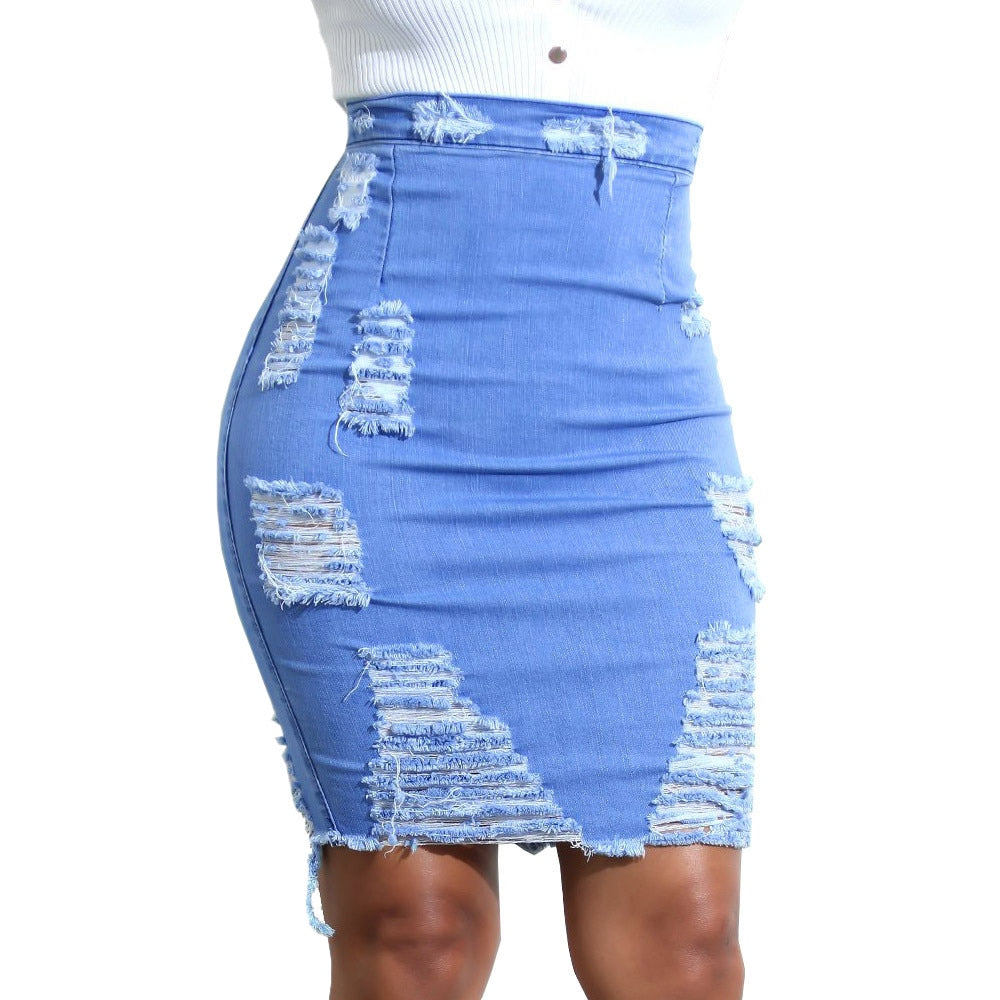 High Waist Ripped Denim Distressed Bodycon Mini Jean Skirt.