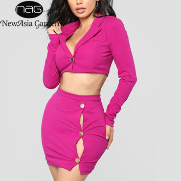 NewAsia Garden Autumn Two Piece Set Women Winter Set Long Sleeve  2 Piece Set Women 2 Pcs Skirt Sets Sexy Ladies Outfits