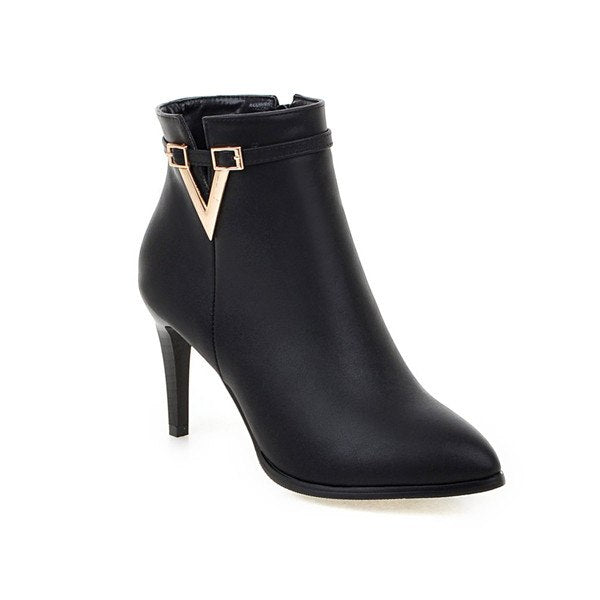 High Heel Ankle Boots Martin Boots Zip Fall Spring Pointed Toe