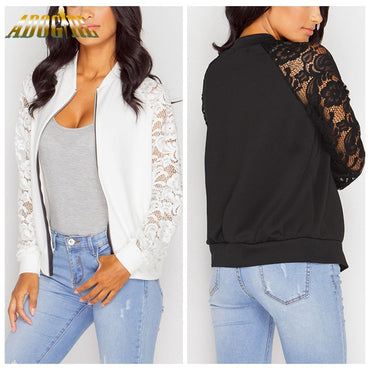 Lace Bomber Women Jacket Black White Solid Zipper Basic Elegant Coats 2019 New Fashion Long Sleeve Causal Short Women's Jackets