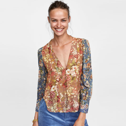 Vintage Patchwork Print Blouse Long Sleeve V-neck Women Blouses Shirt Front button Boho