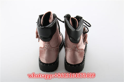 Velvet Ankle Boots Pink Cross-tied Med Heels Shoes Woman Luxury Brand.