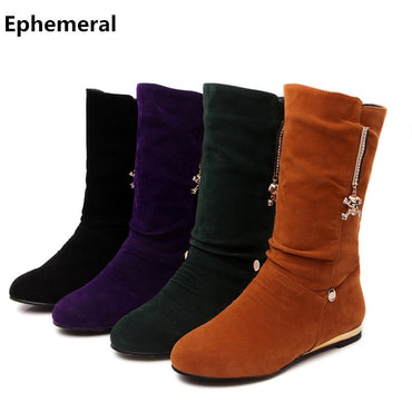 Ladies rhinestone shoes mid-calf snow boots low heel 1.5cm round toe bottine femme winter add fur botas mujer plus size 42 43-34