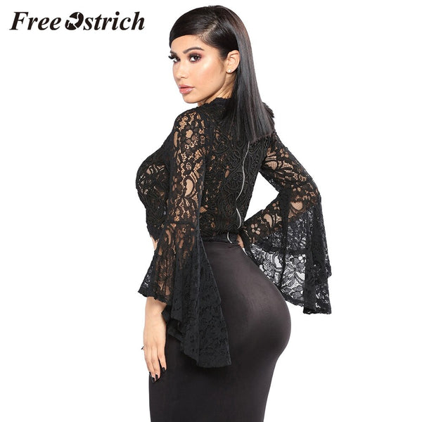 Free Ostrich Womens Tops And Blouses Women Ruffle Mandarin Sleeve See Through Mesh Lace Crochet Blouse Black Sexy Shirt