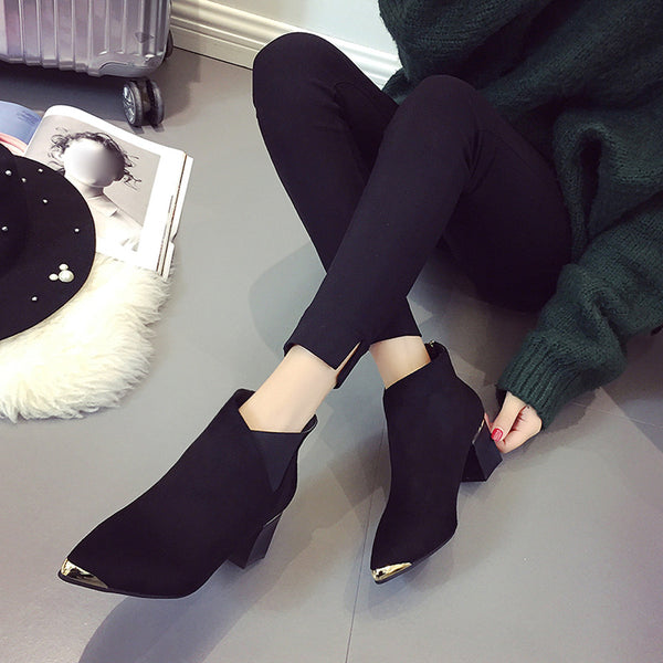 Fashion Women Boots High Heels Women Ankle Boots Sexy Pointed Toe Martin Boots  for dropshipping 20180823