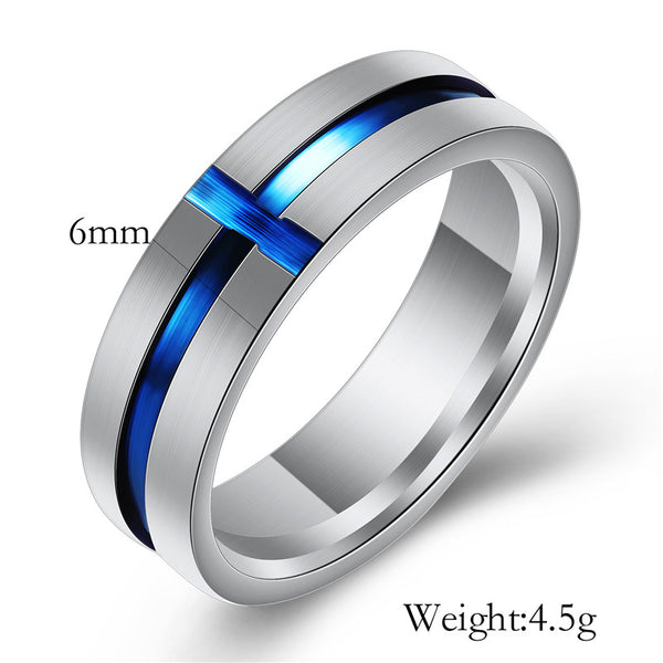 Princess Crown Shape Tiaras Blue Cubic Zircon Engagement Wedding Rings For Men Women Stainless Steel Thin Wire Couple Rings