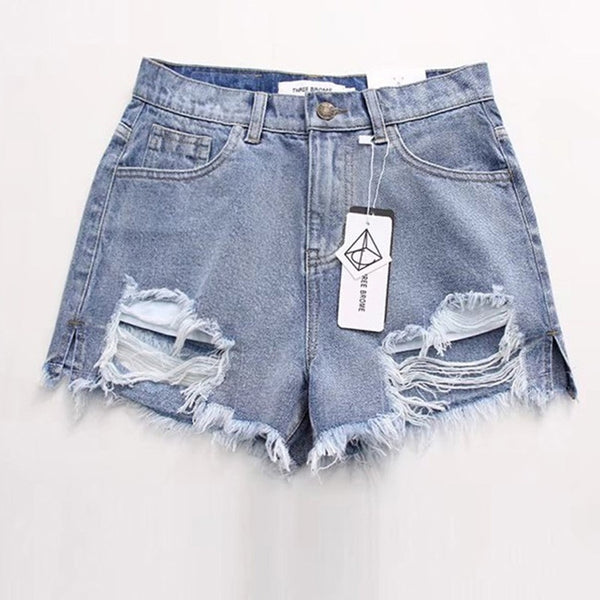 Ripped Jeans Shorts Fringe High Waisted Shorts For Women Cool Hole Short Jeans