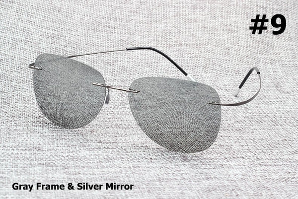 Ultralight Titanium Polarized Sunglasses Rimless Glasses