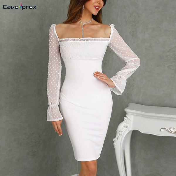 Women Dots Mesh Splicing Lace-Up Back Bodycon Dress Puff Sleeve Square Neck Plain Sexy & Club Sheath Solid  Party Dress