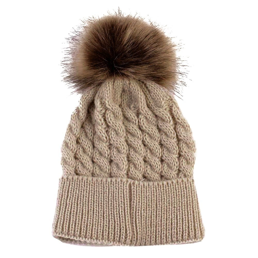 Cute Winter Kids Baby Hats Knitted Wool Hemming Hat