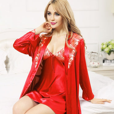 Sexy Silk Robe Sets Fashion Faux Silk Sleepwear Female Embroidery Sleeping Two-Piece Robe + Nightdress Satin Silk Bathrobes 0814