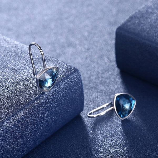 Blue Heart Drop Earrings Real S925 Silver Fine Hanging Jewelry For Women Wedding Gifts