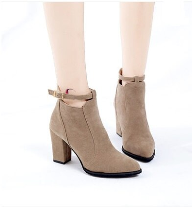 Hot Women shoes Winter Autumn Spring Casual Women High Heels Pumps Warm Ankle boots Women Botas Shoes Mujer Zapatos size34-39
