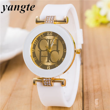 Luxury Montre Femme High Quality Rhinestone Gold Charm Bracelet.