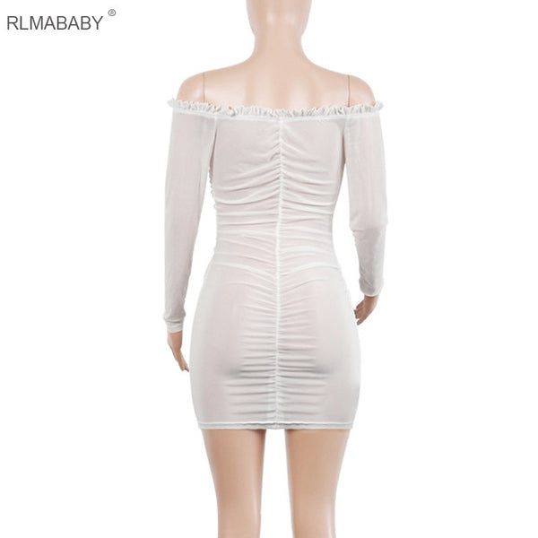RLMABABY Ruched Bandage Dress Off Shoulder Long Sleeve Mesh Dress Lace Up Bodycon Dress Women Vestidos Ruffles White Sexy Dress